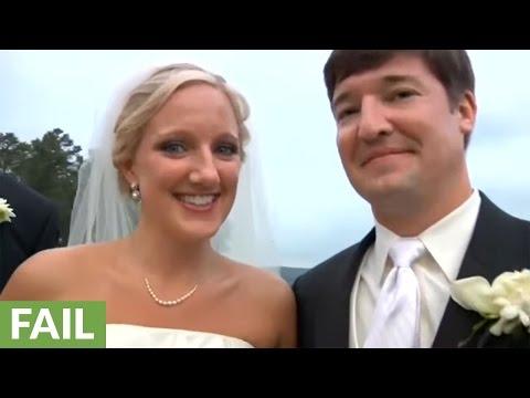 Wedding videographer falls down hill, still gets the shot!