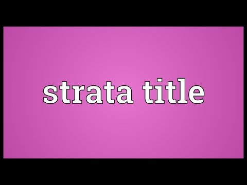 Strata title Meaning