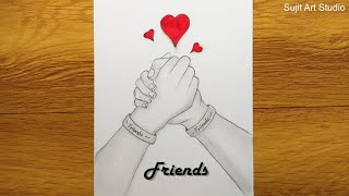 Friendship day drawing with pencil sketch step by step