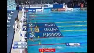 2008 Rijeka Championnat Europe 25m - 100 nage libre freestyle men - Amaury Leveaux - WR