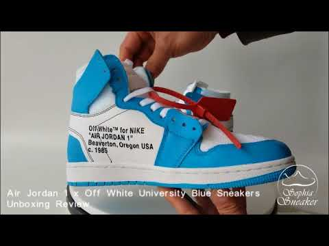 dcb3f465cd351 Off White x Air Jordan 1 UNC University Blue Unboxing Review - YouTube