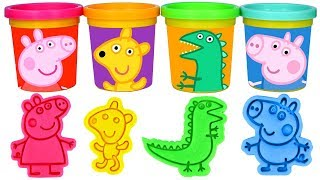 Learn Colors with Play Doh Peppa Pig and George Pig Molds Mr. Dinosaur Teddy Peppa
