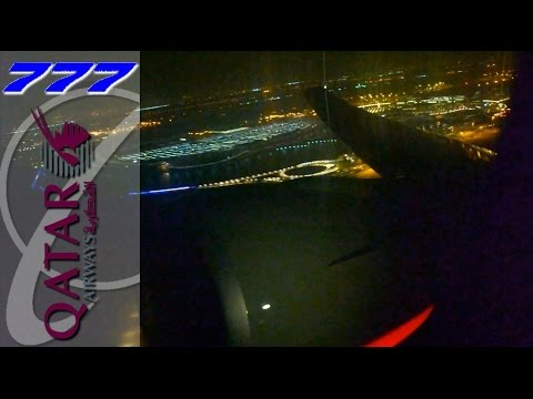 QATAR Boeing 777-300ER Roaring and Taking Off from Doha