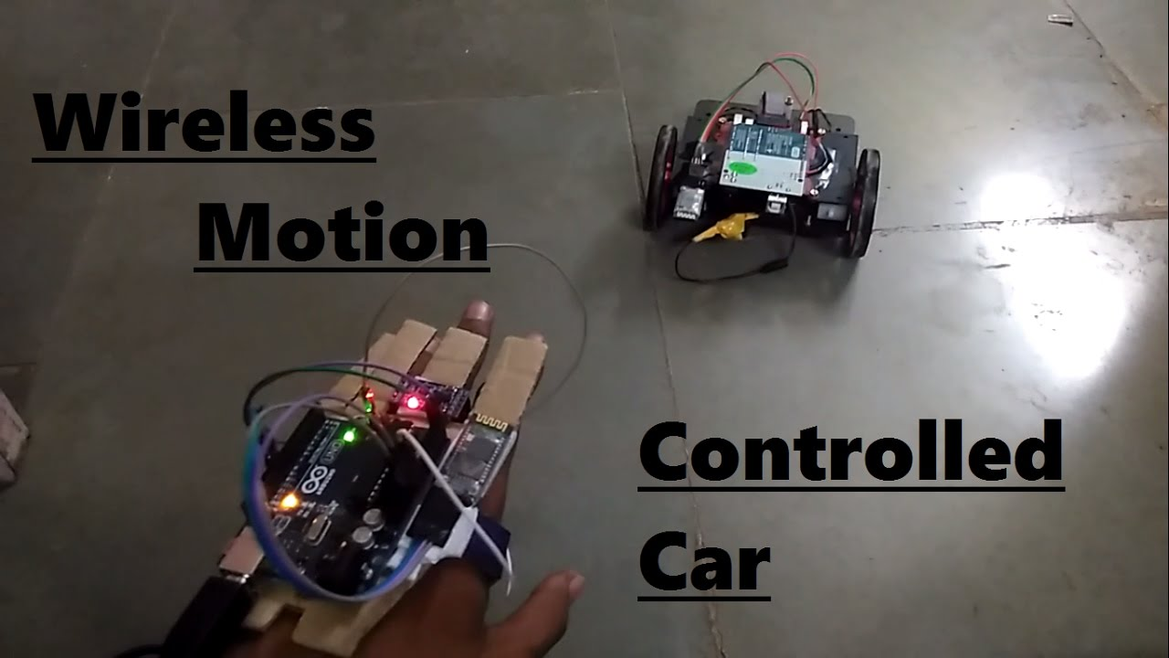 Wireless arduino adxl hand gesture controlled