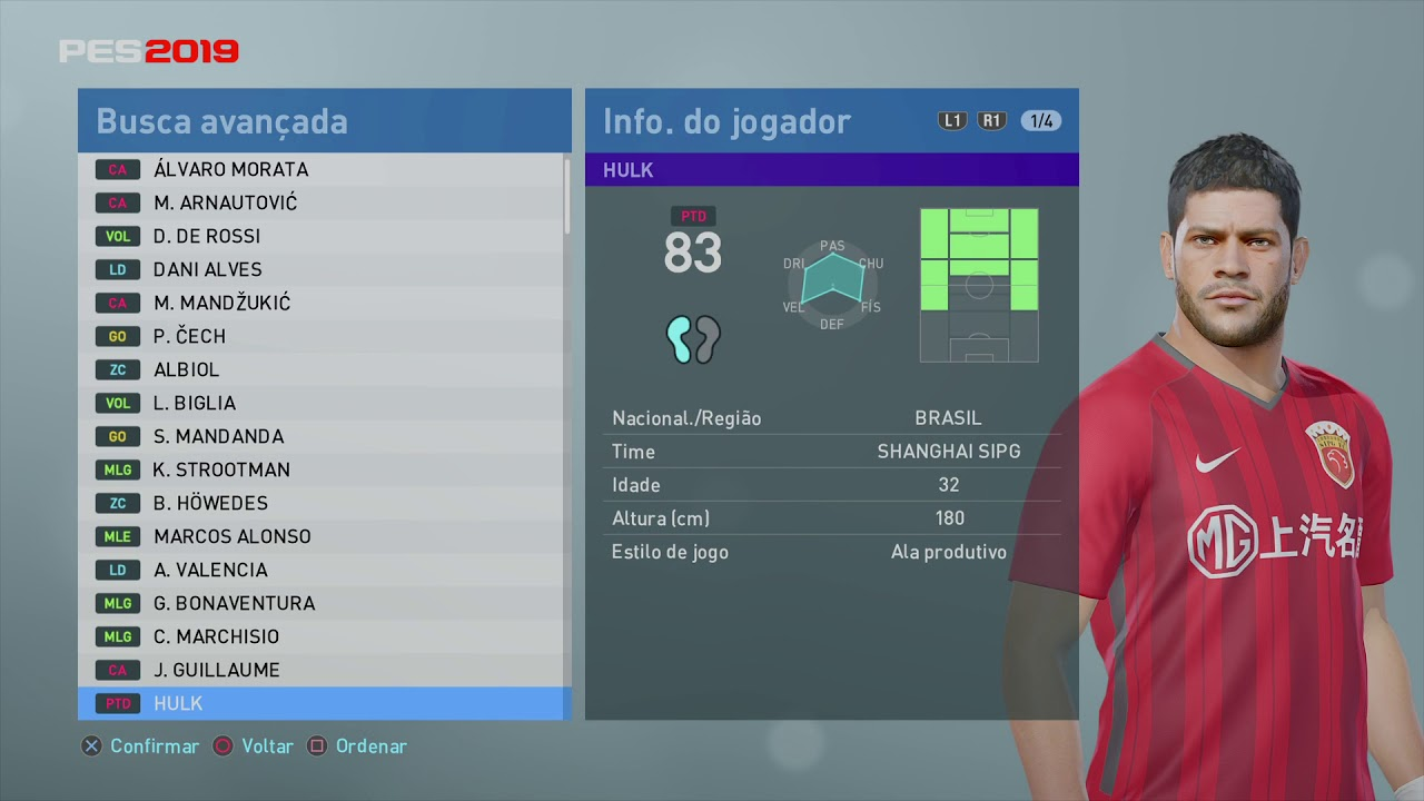 PES 2019 stats and overall 94/80 full game