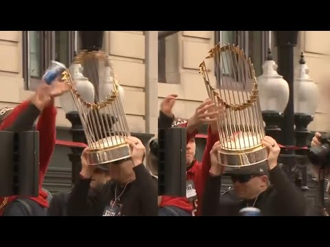 Greek - Red Sox Fan Damages World Series Trophy With a Flying Beer