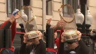 Thrown Beer Can Damages Red Sox World Series Trophy