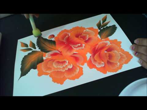 One Stroke Painting- Orange Roses With White Highlight