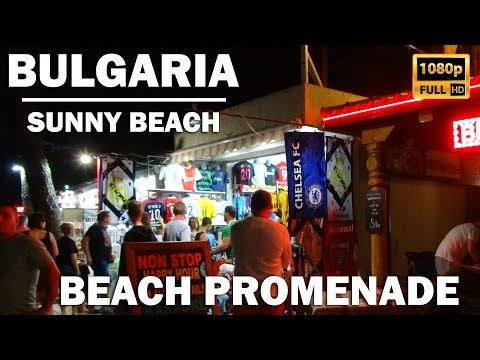 A walk along the beach promenade at night in Sunny Beach, Bulgaria