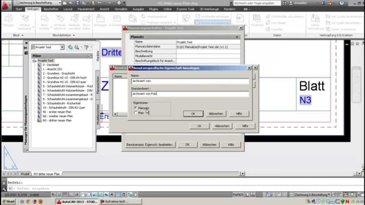 AutoCad 2013 - 08 Plansatz benutzerdefinierte Felder - YouTube