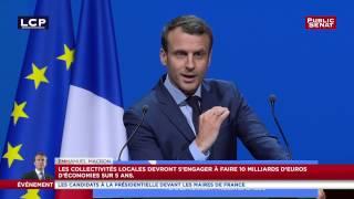 Emmanuel Macron devant l'AMF demande 10 milliards d'économie aux collectivités locales sur 5 ans