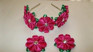 МК. Канзаши Ободок с красивыми цветами