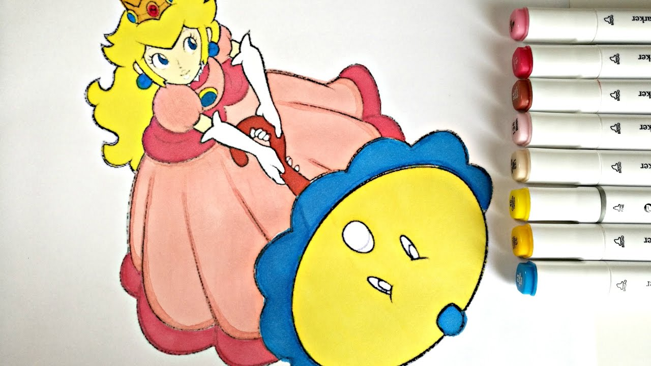 princess peach coloring page colorfulcat youtube