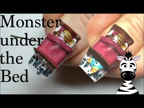 4D Monster Under The Bed Acrylic Nail Art Tutorial thumbnail