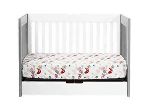 Details Babyletto Mercer 3 in 1 Convertible Crib with Toddler Rail, Grey White Deal
