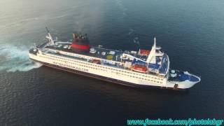 Aerial (drone) video - F/B Prince arriving at the port of Piraeus