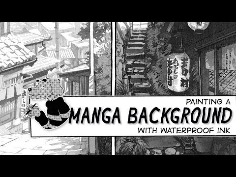 Painting a manga background with ink