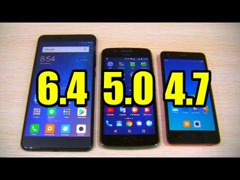 Phones 6.4, 5.0, 4.7 Inches  Comparison