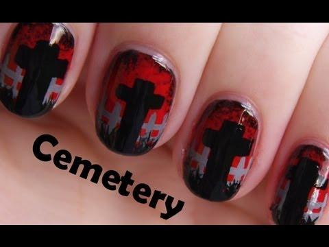 Graveyard Halloween Nail Art  Halloween Cemetery Design for Short Nails  YouTube
