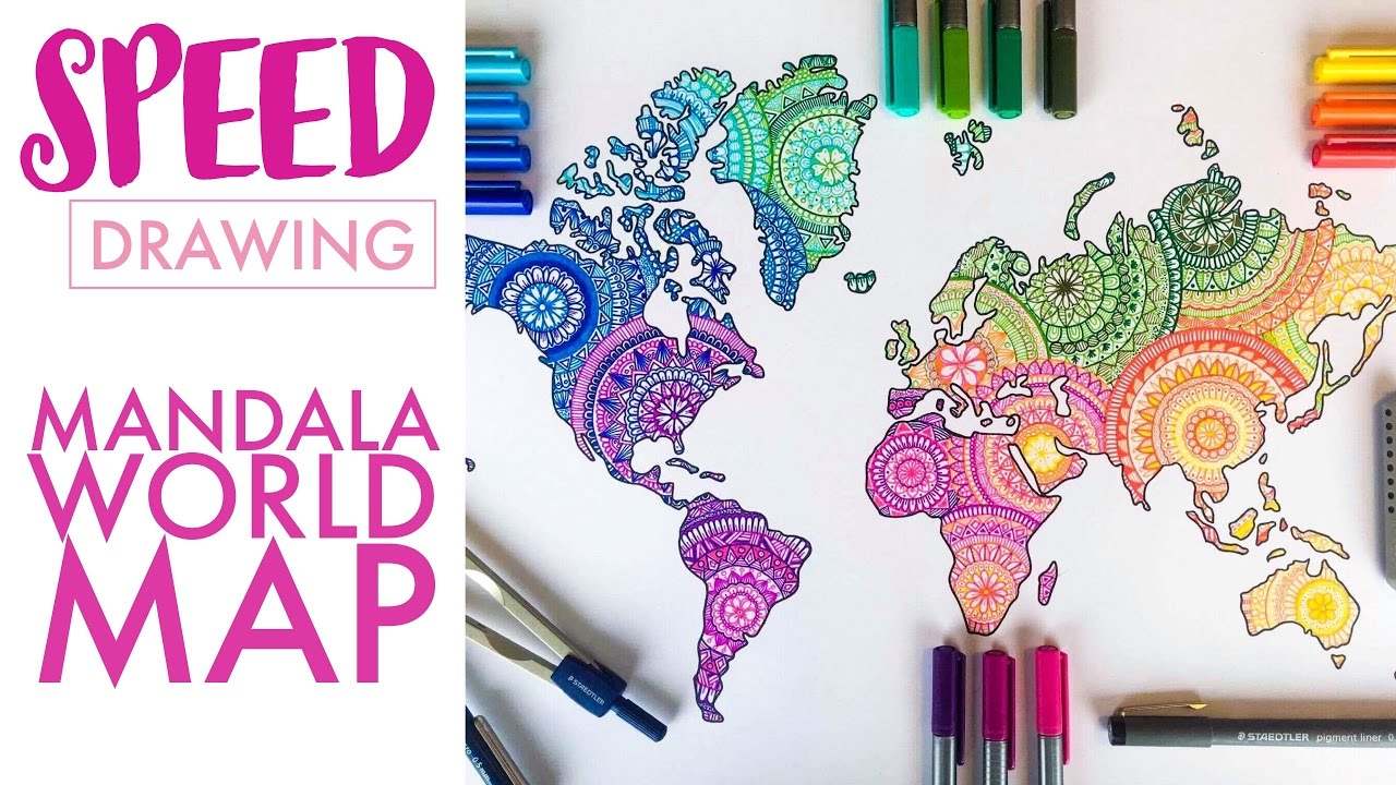 SPEED DRAWING Mandala World Map In Colour YouTube - Mandala map of the world