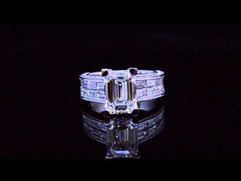 Emerald Cut with Baguette Cut Diamond Engagement Ring #21933