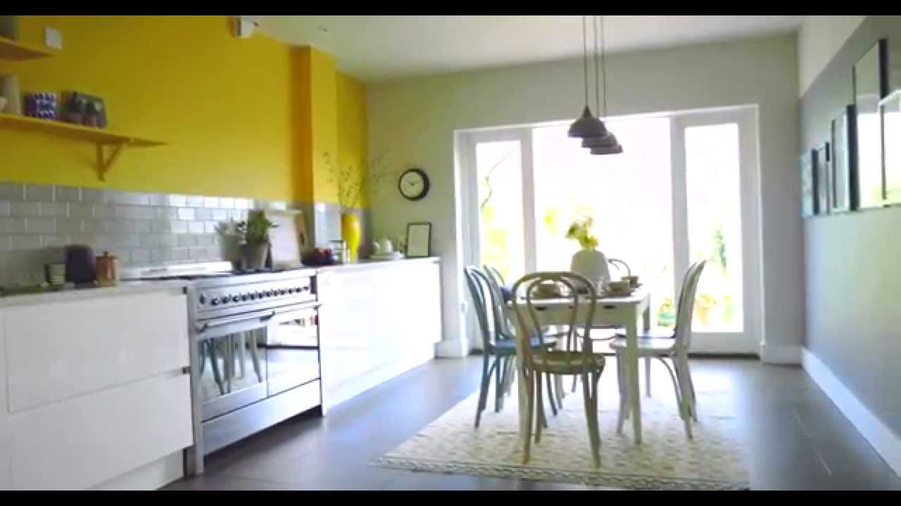 Kitchen ideas create a yellow grey colour scheme with for Living room ideas mustard