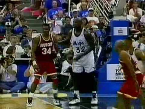 1995 NBA Finals - Game 1 - Hakeem Olajuwon (31 pts) vs Shaquille O'Neal (26 pts) - Part 2 (2nd ...