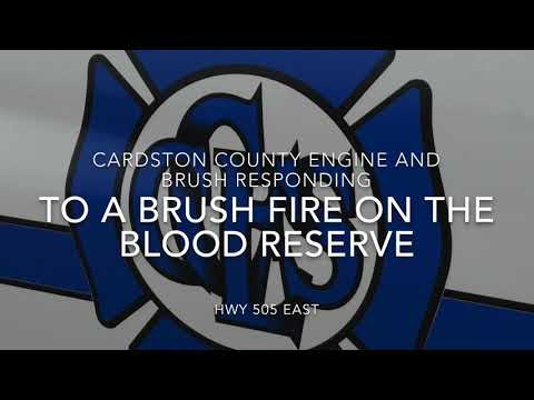 Cardston Fire Department Engine and Brush Responding on the Blood Reserve