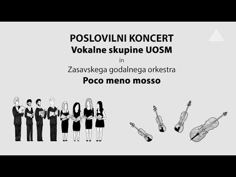 Poslovilni koncert Vokalne skupine Uosm in Zasavskega godalnega orkestra Poco meno mosso