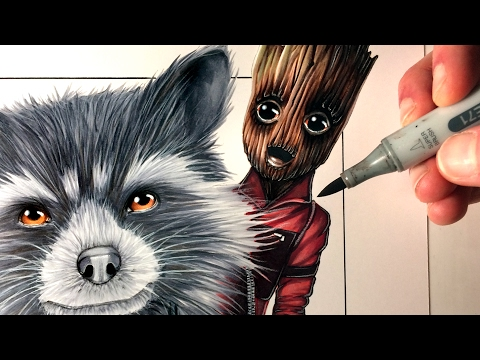 Let's Draw ROCKET RACCOON + BABY GROOT From GUARDIANS OF THE GALAXY VOL. 2 - FAN ART FRIDAY