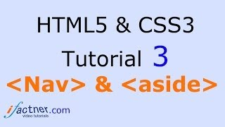 HTML5 and CSS3 video tutorial 3 for beginners Nav & aside tags