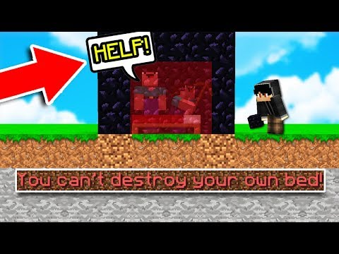 ESCAPE PROOF OBSIDIAN BED TRAP! (Minecraft BED WARS TROLLING) *BED GLITCH*