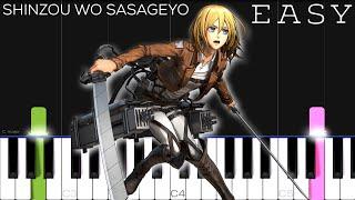 Attack on Titan Season 2 OP - Shinzou wo Sasageyo!   EASY Piano Tutorial