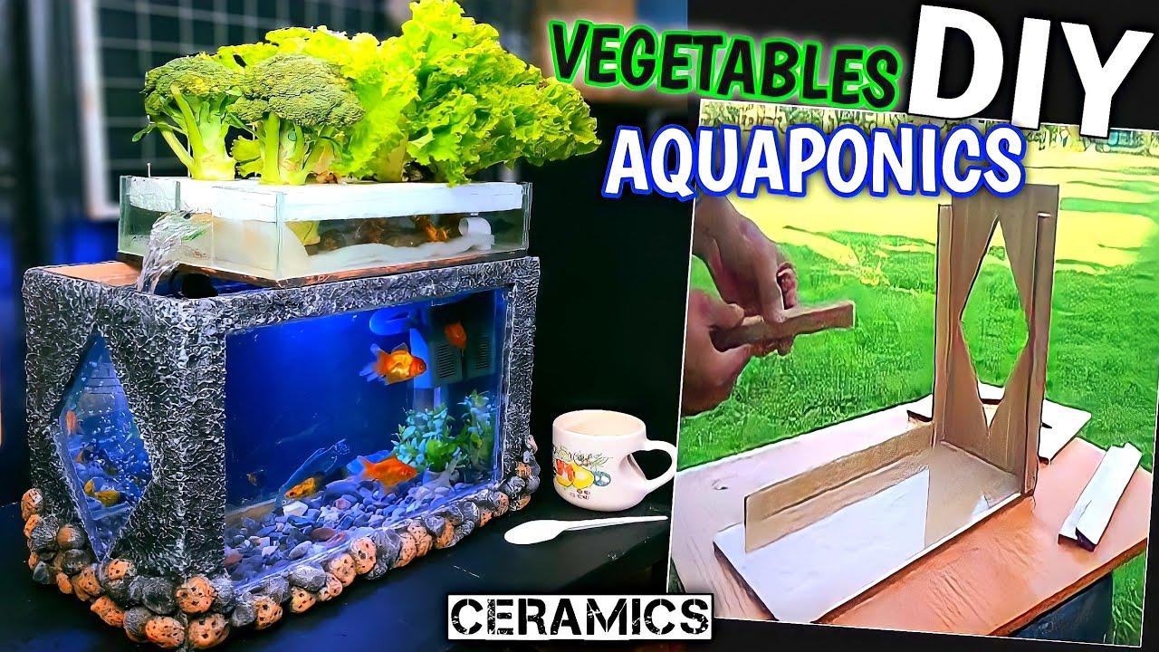 Cement Aquarium Decoration Ideas - Aquaponics System Combined with Growing Clean Vegetables