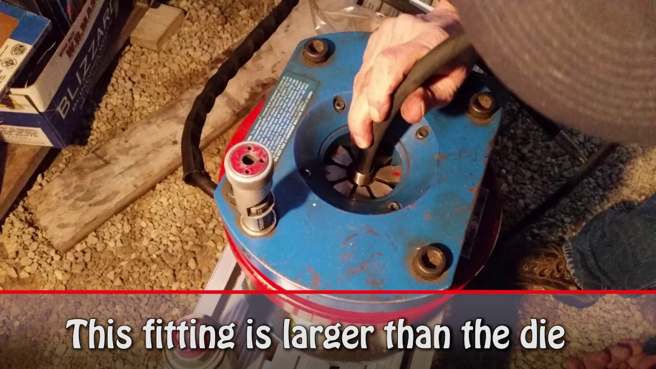 Learing how to crimp hydraulic fittings on custom hydraulic hoses