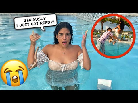 Making My WIFE Get FULLY DRESSED Then THROWING Her In The POOL PRANK!