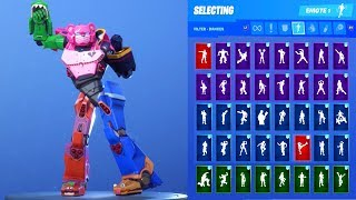 *NEW* Fortnite Mecha Team Leader Voltron Robot Skin Outfit Showcase with All Dances & Emotes