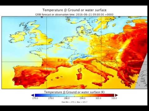Animation of temperature weather forecast for Europe (June 18, 2016 6:00 UTC + 96hrs)