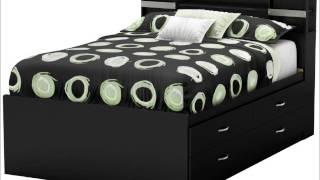 South Shore Step One Collection Full Captain's Bed, Pure Black