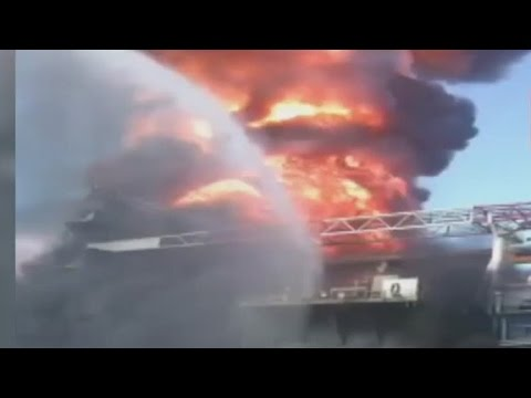 2010: Close up video captured Gulf Coast rig burning