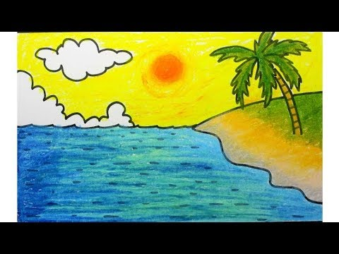 How To Draw Beach Scenery Oil Pastel Super Easy For Kids