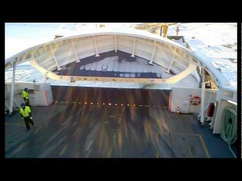 Ferry Hiiuma - departure from Kuivastu. (visor and ramp closing)