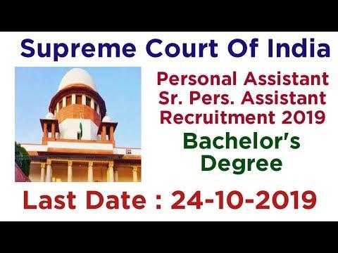 Supreme Court Personal Assistant Recruitment 2019