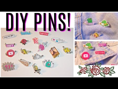 5+ Easy Ways to DIY Pins Without Shrinking Paper!| 100 Pin Challenge! Tumblr, Disney, and more!