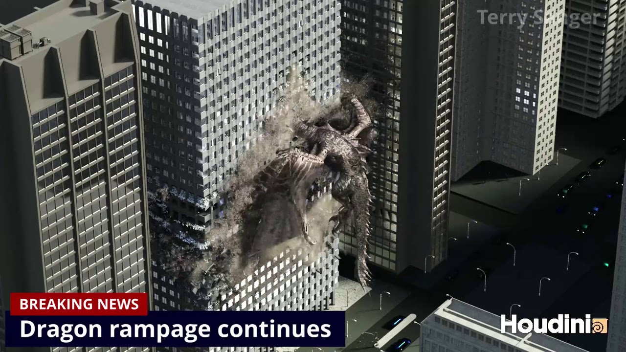 Dragon destruction - combined shots with some titles and sounds