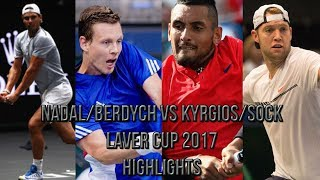 Nadal/Berdych Vs Kyrgios/Sock - Laver Cup 2017 (Highlights HD)