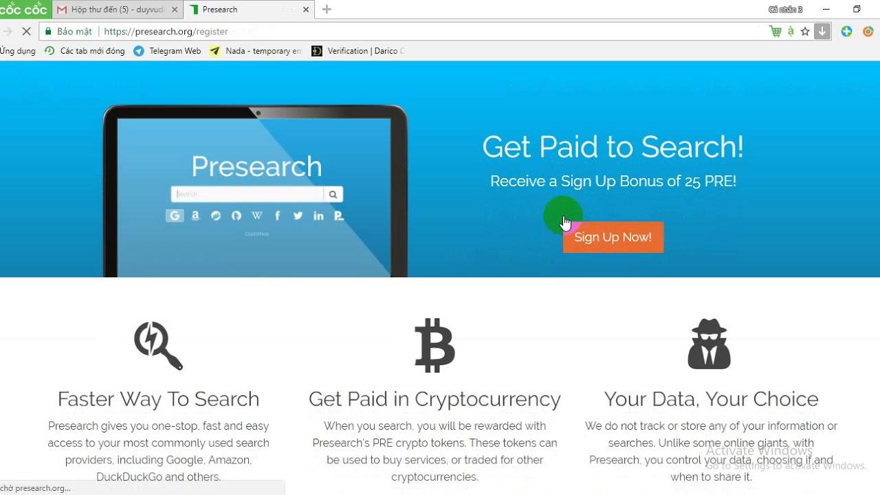 Download Cách kiếm Presearch (PRE) token miễn phí - Coin đã list tại Coinmarketcap