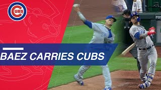 Baez's glove, bat lead Cubs to win over Royals