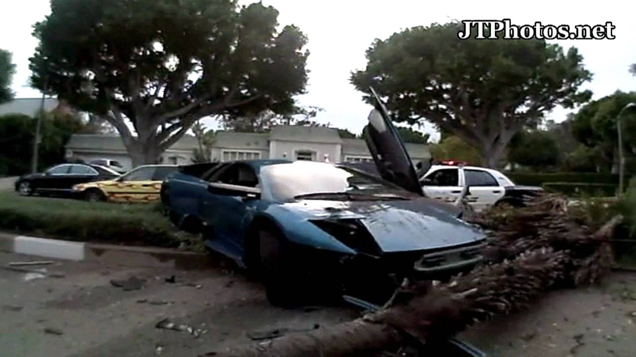 Lamborghini Murcielago Crashing Into Palm Tree In Beverly