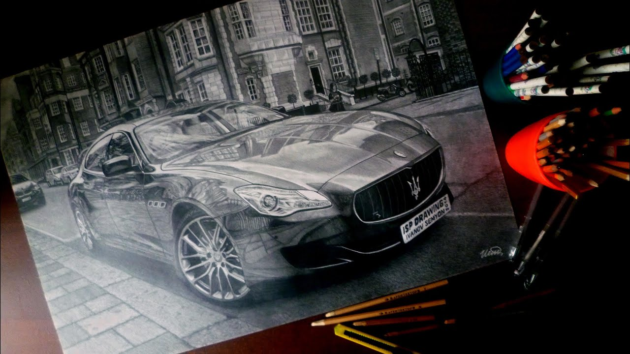 2014 Maserati Quattroporte >> MASERATI QUATTROPORTE REALISTIC DRAWING ISP 2014 - YouTube